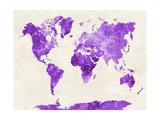 World Map in Watercolor Purple