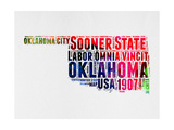 Oklahoma Watercolor Word Cloud