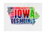 Iowa Watercolor Word Cloud