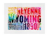 Wyoming Watercolor Word Cloud