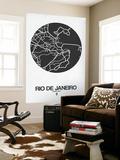 Rio de Janeiro Street Map Black on White