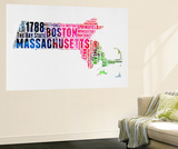 Massachusetts Watercolor Word Cloud
