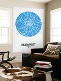 Budapest Street Map Blue