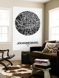 Johannesburg Street Map Black on White