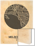 Melbourne Street Map Black on White
