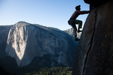 Climber on Tallest Freestanding Spire in US - the Upper Cathedral Spire  Yosemite National Park  CA
