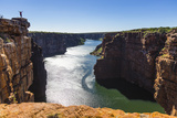 Yoga Poses Atop Sandstone Cliffs Above the King George River in the Kimberley Region