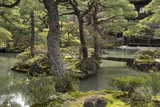 A Japanese Garden with Pond and the Silver Pavilion in the Background  at Ginkaku-Ji