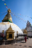 Kathmandu  Nepal: Prayer Flags Above Swayambhunath Stupa