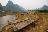 Guilin  China: Bamboo Boats Provide Transportation in This Remote Village