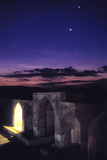 Two Brightest Planets Venus and Jupiter at Dusk over the Historic Caravansary of Bahram Palace