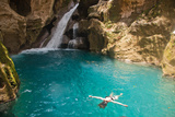 Jacmel  Haiti: A Swimmer Floating in Basin Bleu