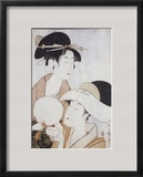 Bust Portrait of Two Women  One Holding a Fan  the Other with a Head Cover Holding a Tea Cup