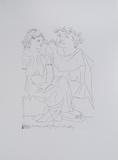 Flautista y muchacha con pandereta Reproduction d'art par Pablo Picasso