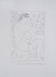 Mujer denuda sentada ante una cortina Reproduction d'art par Pablo Picasso