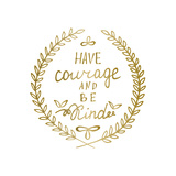 Hand Drawn Calligraphy Lettering Inspiration Quote Motivational Words Gold Laurel Leaves Frame