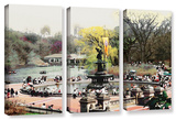 Bethesda Fountain  3 Piece Gallery-Wrapped Canvas Set