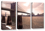 Brooklyn Bridge At Sunset  3 Piece Gallery-Wrapped Canvas Set