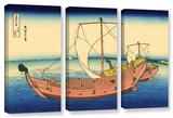 The Kazusa Province Sea Route  3 Piece Gallery-Wrapped Canvas Set