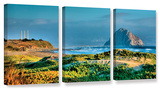 Morro Rock And Beach  3 Piece Gallery-Wrapped Canvas Set