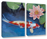 Koi And Water Lily  2 Piece Gallery-Wrapped Canvas Set