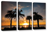 Tropical Sunset  3 Piece Gallery-Wrapped Canvas Set