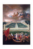 View of the Orangerie and the Chateau De Versailles with the Abduction of Helen  1688