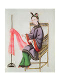 A Chinese Woman Making a Fishing Net  Qianlong Period (1736-96)
