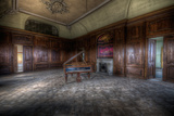 Abandoned Building Interior with Decorative Panelling and Old Grand Piano