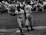 Giants Player  Willie Mays  Running Bases During Game with Dodgers