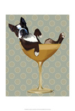 Boston Terrier in Cocktail Glass Reproduction d'art par Fab Funky