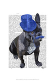 French Bulldog With Blue Top Hat and Moustache