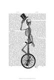 Skeleton on Unicycle Reproduction d'art par Fab Funky