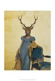 Deer In Blue Dress Reproduction d'art par Fab Funky