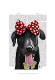 Black Labrador With Red Bow On Head