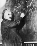 Einstein Writing Equation on Blackboard