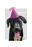 Black Labrador With Party Hat