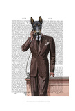 Doberman on Phone