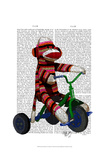 Sock Monkey on Tricycle