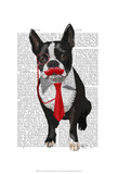 Boston Terrier With Red Tie and Moustache