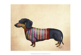 Dachshund With Woolly Sweater Reproduction d'art par Fab Funky
