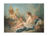 A Reclining Nymph Playing the Flute with Putti  Perhaps the Muse Euterpe  1752