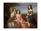 A Group Portrait of Three Girls  Three Quarter Length  in a Landscape  1849