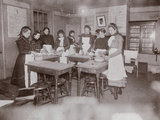 Cooking School Class in College Settlement the 'Boss Temperance Sermon'  C1895