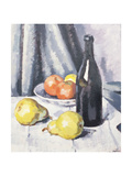 Apples  Pears and a Black Bottle on a Draped Table  C1928