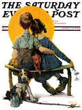 """Little Spooners"" or ""Sunset"" Saturday Evening Post Cover  April 24 1926"
