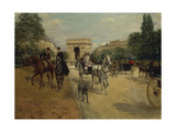 Knights and Carriages on Bois De Boulogne Avenue  with Arc De Triomphe in Background