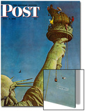 """""""Working on the Statue of Liberty"""" Saturday Evening Post Cover, July 6,1946 Acrylique par Norman Rockwell"""