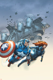 Marvel Team-Up No6 Cover: Black Widow and Captain America Swinging