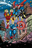 Avengers No21 Cover: Captain America  Thor  Iron Man  Black Panther and Avengers